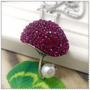 Jewelry - New Pink Crystal Pearl Mushroom Brooch Necklace
